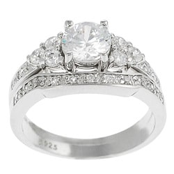Tressa Sterling Silver CZ Solitaire Ring with Matching Band