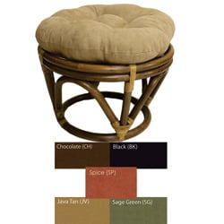 Rattan Papasan Footstool with Micro Suede Cushion