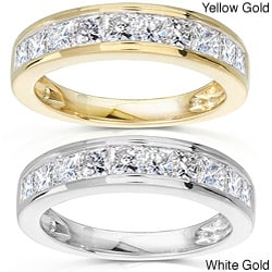 14k Gold 1ct TDW Princess Diamond Wedding Band
