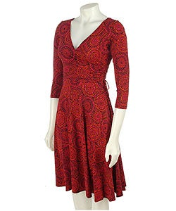 Jersey Dress on London Times Wrap Matte Jersey 3 4 Sleeve Dress   Overstock Com