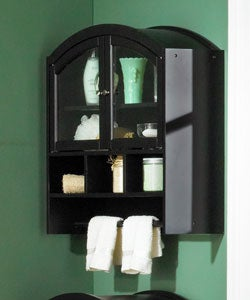Black Arch Top Wall Cabinet