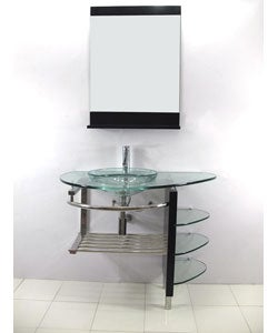 Contemporary Glass Vanity Set