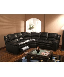 Black Leather 5-seat Recliner Sectional Sofa | Overstock.