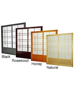 Wood and Rice Paper Eudes Shoji Double-sided Sliding Door Kit (China)