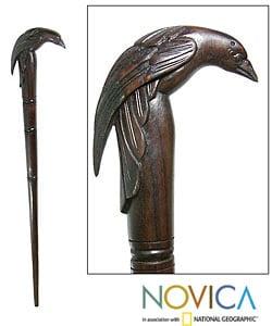Wooden Raven Walking Stick (Indonesia)