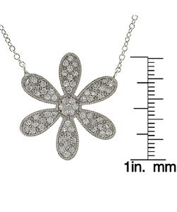 Sterling Essentials Sterling Silver Pave CZ Daisy Necklace
