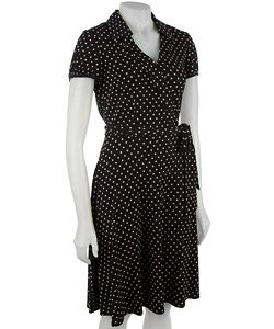 Polka  Dress on Tahari Asl Polka Dot Jersey Wrap Shirt Dress   Overstock Com