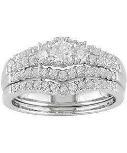 Miadora 14k White Gold 1ct TDW Round Diamond Wedding Ring Set