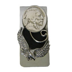 Handcrafted Eagle and Nickel Money Clip (Native American)