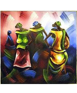 Dancing Market Women Canvas Painting (Ghana)