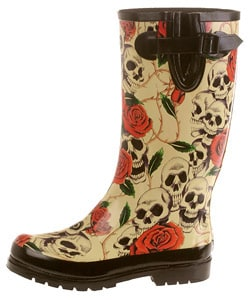On Your Feet Rasp Skull and Rose Print Rain Boots
