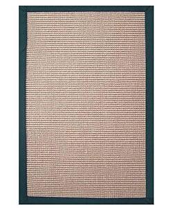 Hand-woven Sisal Emerald Green Border Rug (8' x 10')