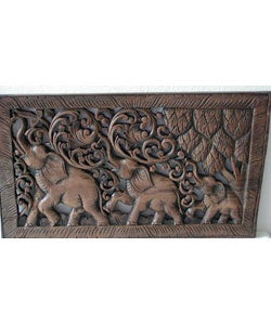 Teak Wood Elephant Wood Carving (Thailand)