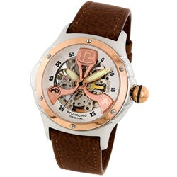 Stuhrling Original Alpine Men's Rose Goldtone Skeleton Watch