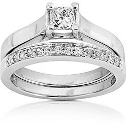 14k White Gold 1/2ct TDW Princess & Round Diamond Wedding Set
