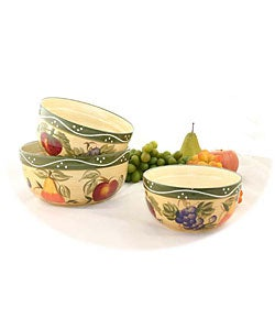 Tuscan Collection Hand-painted 3-piece Serving Bowl Set