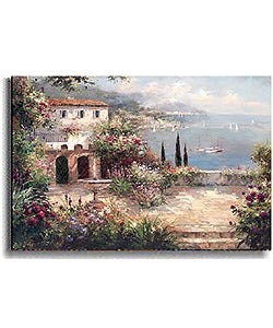 Peter Bell 'Mediterranean Villa' Stretched Canvas Art