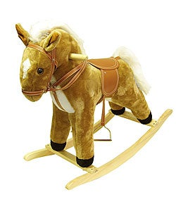 Tan Wood and Fabric Plush Rocking Horse Animal Toy with Sound