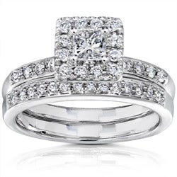 14k White Gold 3/5ct TW Princess Diamond Wedding Ring (I1-I2 )
