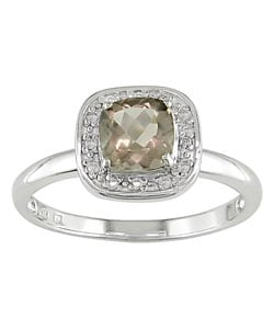 10k White Gold Smokey Quartz/ Diamond Accent Ring