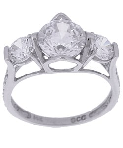 14k White Gold CZ Diamoness 3-stone Ring