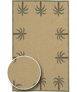 Cafe Series Palm Tree Border Indoor/Outdoor Rug (7'6 Square)