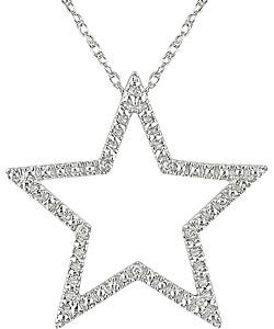 10k White Gold Diamond Accent Star Necklace 10751012 Overstockcom