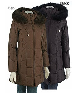 London Fog Women's Petite 3/4 Down Coat with Fur Trim