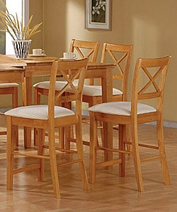 Maple Finish Counter Stools (Set of 2)