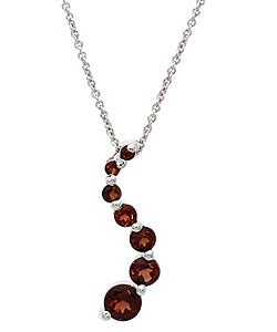 Glitzy Rocks Sterling Silver Garnet Journey Pendant