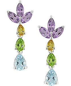 Silver Multi-shaped Gemstone Earrings