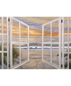Ocean Window Scene Extra Large Canvas Art