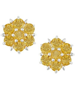 Sterling Silver Citrine Flower Earrings