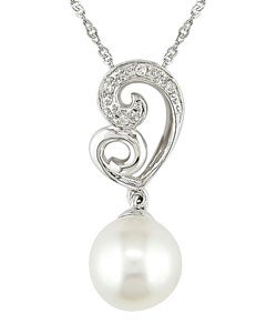 14k White Gold Diamond Cultured FW Pearl Pendant