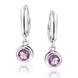 Glitzy Rocks Sterling Silver Amethyst Leverback Earrings