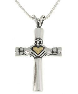 CGC 14k Gold and Silver Claddagh Cross Necklace