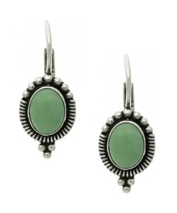 Glitzy Rocks Sterling Silver Oval Variscite Leverback Earrings