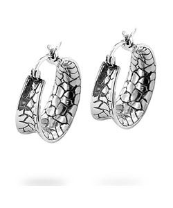 Kate Bissett Silvertone Bali-inspired CZ Hoop Earrings