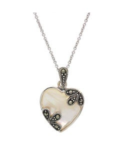 Glitzy Rocks Sterling Silver Mother of Pearl Heart Pendant