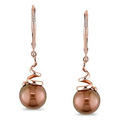 Miadora 14k Pink Gold Brown Freshwater Pearl Earrings (8-8.5 mm)