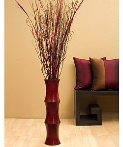 Scalloped Floor Vase & Burgundy Palm Stalks