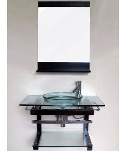 Overstock Bathroom Vanities on Solid Wood Wall Mount Glass Sink Vanity And Shelf   Overstock Com