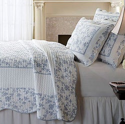 Jouy Toile Blue Woven Cotton 3-Piece Quilt Set