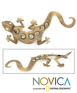 'Golden Gecko' Iron Wall Adornment (Mexico)