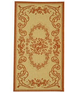 Indoor/ Outdoor Garden Natural/ Terracotta Rug (2' x 3'7)