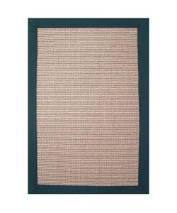 Hand-woven Sisal Emerald Green Border Rug (5' x 8')