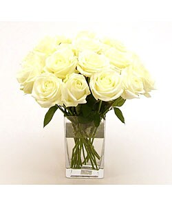 White sweetheart roses 20 stems