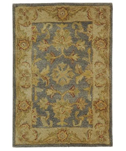 Handmade Antiquities Jewel Grey Blue/ Beige Wool Rug (2' x 3')