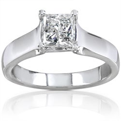14k Gold 1ct TDW Princess Diamond Solitaire Ring (H-I, I1-I2)