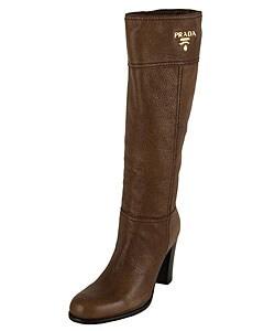 prada light brown pebbled leather knee high boots